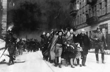 Jewish civilians.  Copy of German photograph taken during the destruction of the Warsaw Ghetto, Poland, 1943.   (WWII War Crimes Records)