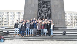 Photo: My grandson's school group at Warsaw Ghetto monument