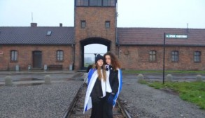 Photo:Abigail Leibler (L) and No'a Ehrman-Loebenberg (R), Birkenau, November 2016